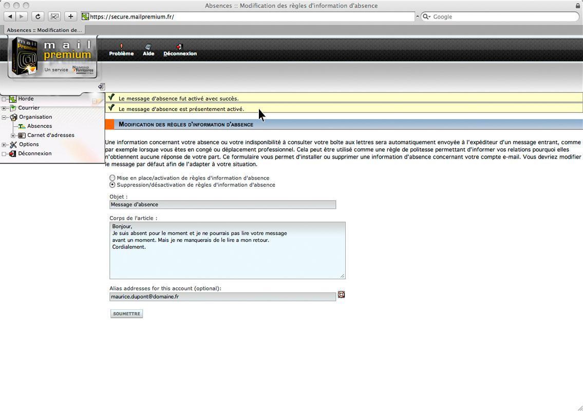Message d'absence automatique - Mailpremium